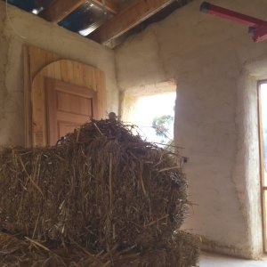 inside a straw bale house