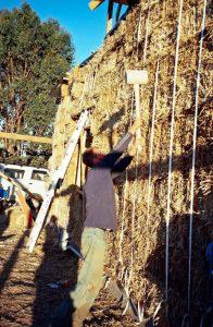 hammering straw bale wall