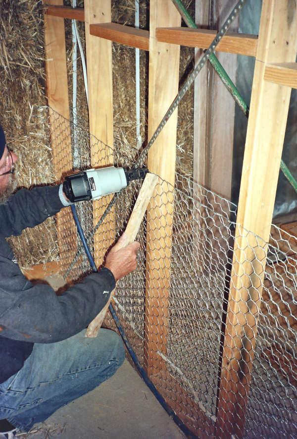 Kram internal wall in straw bale house